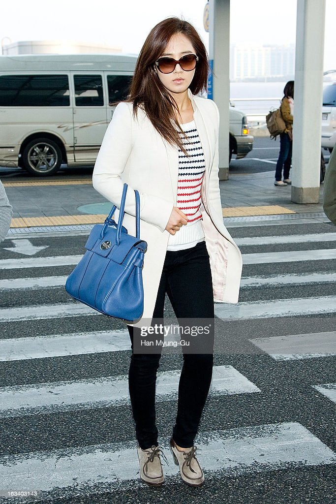 Kwon Yu-Ri (Yu-Ri) of South Korean girl group Girls' Generation is seen on departure at Incheon International Airport on March 8, 2013 in Incheon, South Korea.
