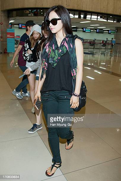 Kwon YuRi of South Korean girl group Girls' Generation is seen on departure at Gimpo International Airport on June 19 2013 in Seoul South Korea