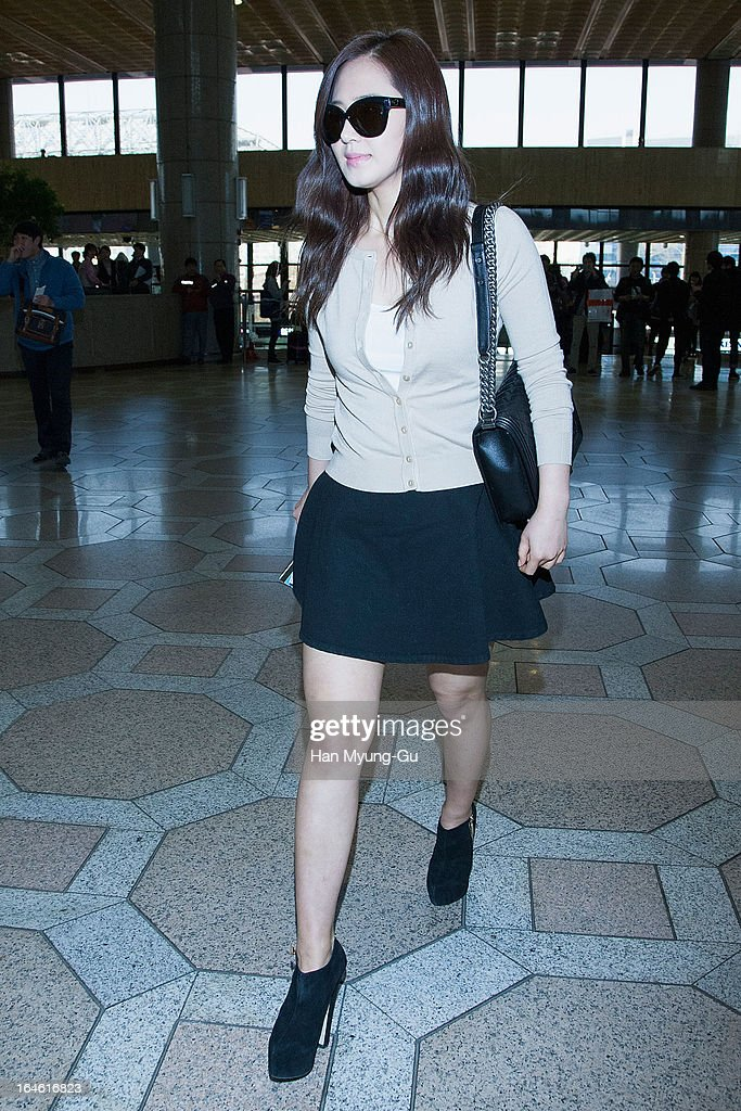 Kwon Yu-Ri (Yu-Ri) of South Korean girl group Girls' Generation is seen on departure to Japan at Gimpo International Airport on March 25, 2013 in Seoul, South Korea.