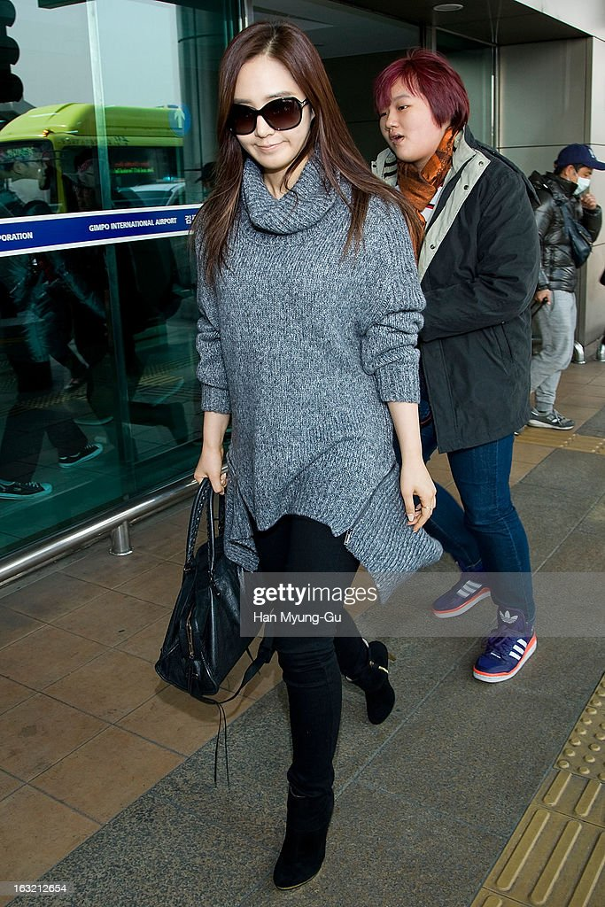 Kwon Yu-Ri (Yu-Ri) of South Korean girl group Girls' Generation is seen upon arrival from Japan at Gimpo International Airport on March 6, 2013 in Seoul, South Korea.