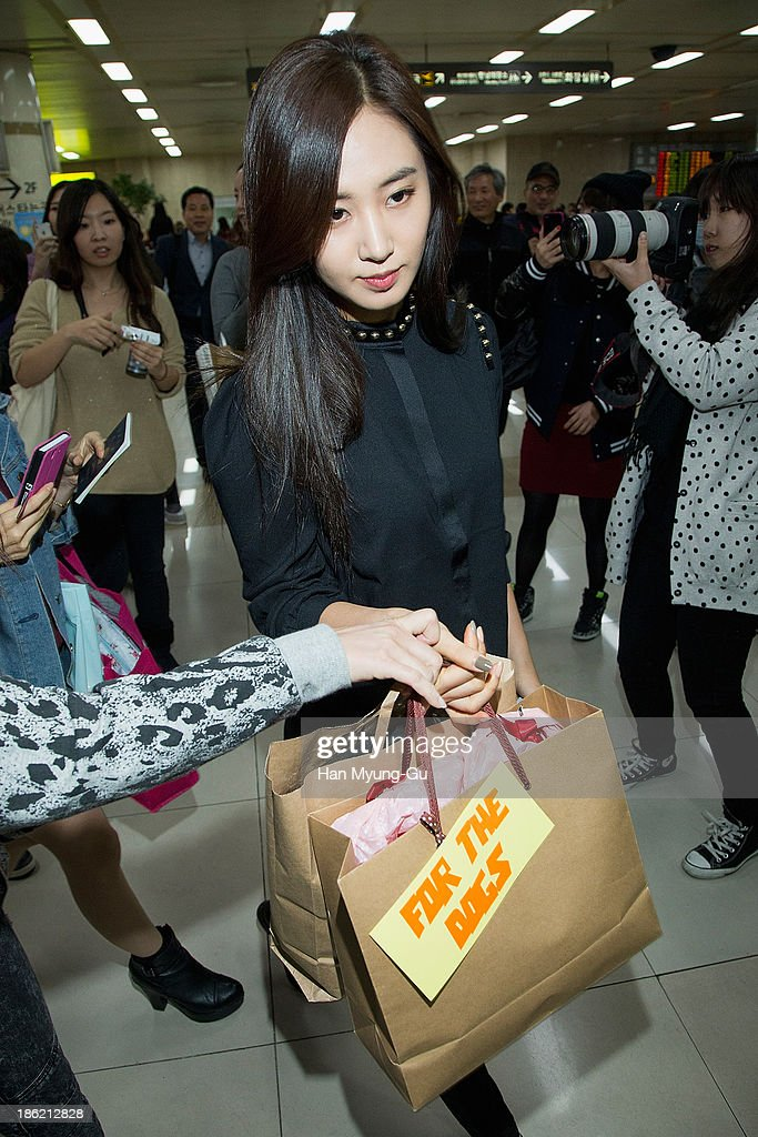Kwon YuRi of South Korean girl group Girls' Generation is seen upon arrival at the Gimpo Airport on October 28 2013 in Seoul South Korea
