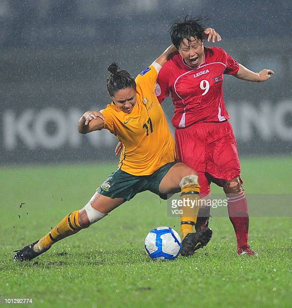 Kyah Pam Simon of Australia competes with Ri Ye Gyong of DPR Korea during the AFC Women's Asian Cup Final between Australia and DPR Korea at Chengdu...