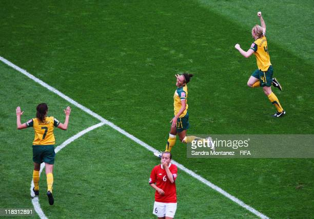 Kyah Simon of Australia celebrates after scoring her team's second goal during the FIFA Women's World Cup Group D match between Australia and Norway...