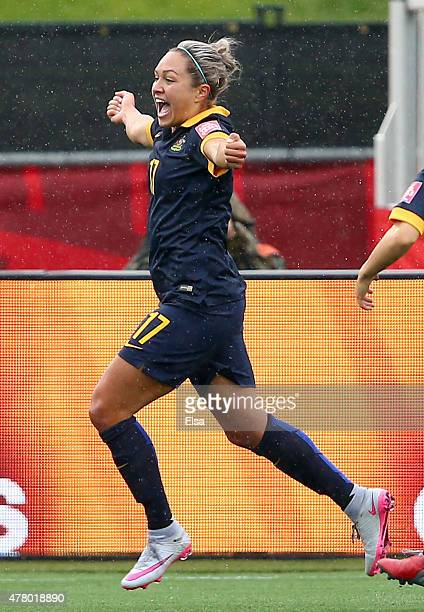 Kyah Simon of Australia celebrates her goal in the second half against Brazil during the FIFA Women's World Cup 2015 round of 16 match between Brazil...