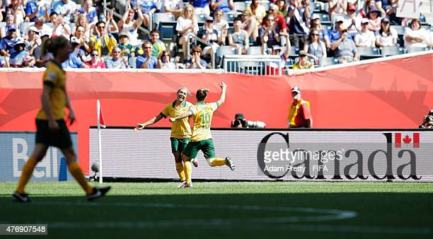Kyah Simon of Australia celebrates scoring a goal during the Group D match between Australia and Nigeria of the FIFA Women's World Cup 2015 at...