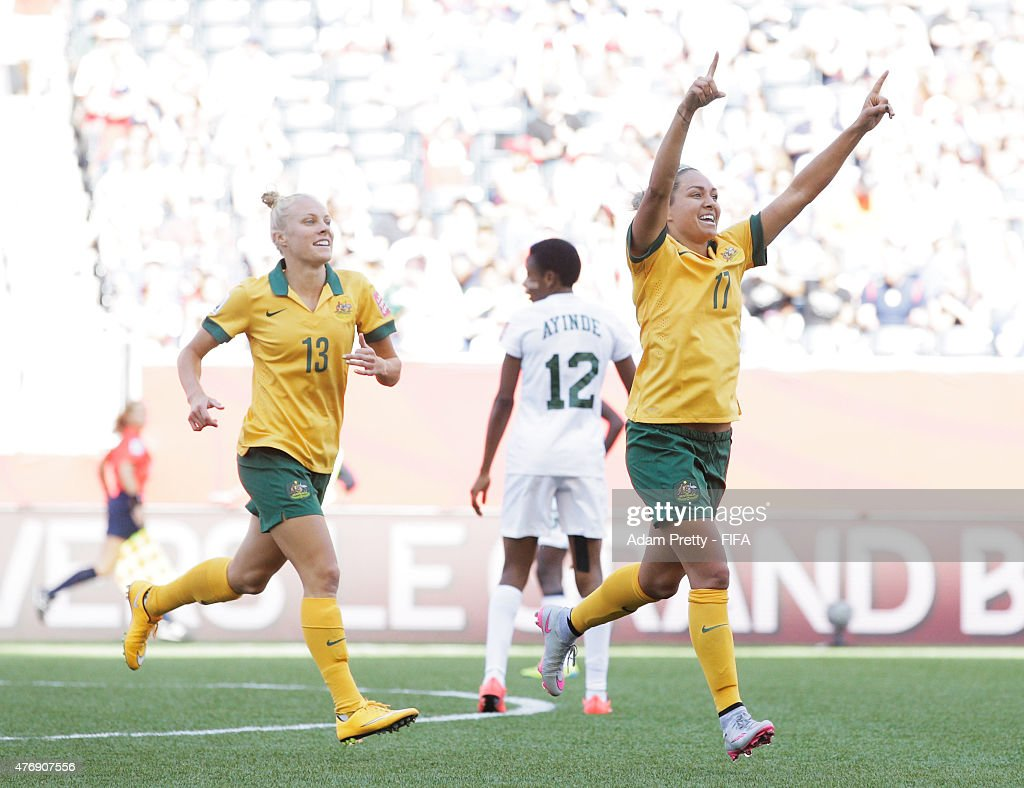 Kyah Simon of Australia celebrates scoring her second goal during the Group D match between Australia and Nigeria of the FIFA Women's World Cup 2015 at Winnipeg Stadium on June 12, 2015 in Winnipeg, Canada.