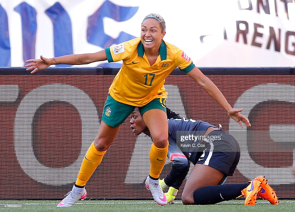 Kyah Simon #17 of Australia reacts after scoring her second goal past goalkeeper Precious Dede #1 of Nigeria during the FIFA Women's World Cup Canada 2015 match between Australia and Nigeria at Winnipeg Stadium on June 12, 2015 in Winnipeg, Canada.