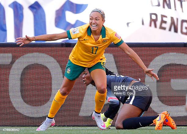 Kyah Simon of Australia reacts after scoring her second goal past goalkeeper Precious Dede of Nigeria during the FIFA Women's World Cup Canada 2015...