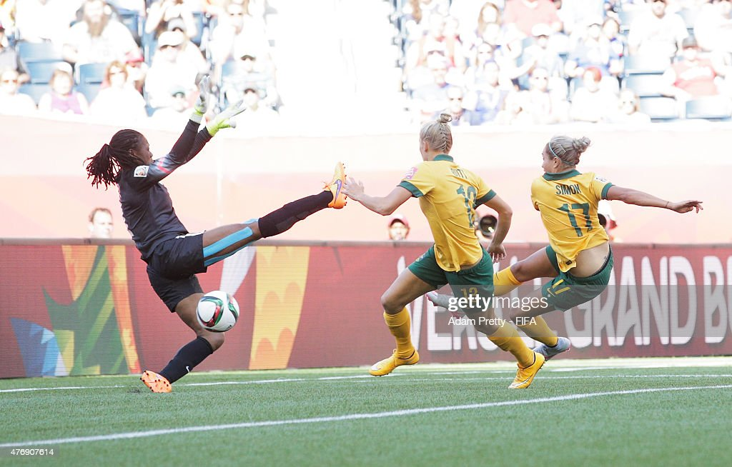 Kyah Simon of Australia scores her second goal during the Group D match between Australia and Nigeria of the FIFA Women's World Cup 2015 at Winnipeg Stadium on June 12, 2015 in Winnipeg, Canada.