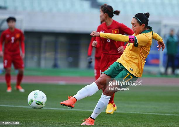 Kyah Simon of Australia scores her team's second goal during the AFC Women's Olympic Final Qualification Round match between Australia and Vietnam at...
