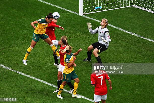 Kyah Simon of Australia scores her team's second goal during the FIFA Women's World Cup Group D match between Australia and Norway at the FIFA World...
