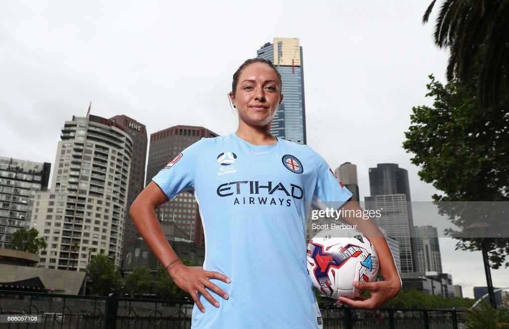Kyah Simon of Melbourne City Womens team poses during a Melbourne City W-League media opportunity at SBS Studios on October 25, 2017 in Melbourne, Australia.