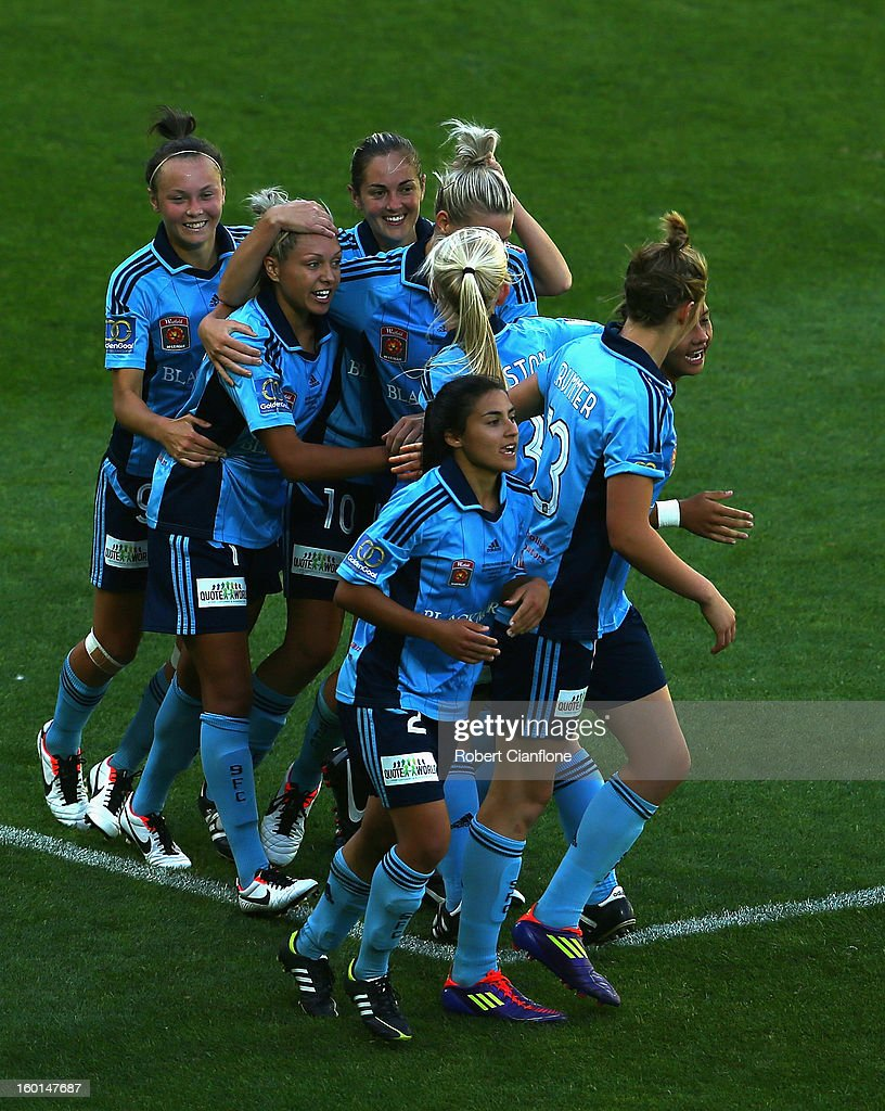 Kyah Simon of Sydney FC celebrates scoring a penalty during the W-League Grand Final between the Melbourne Victory and Sydney FC at AAMI Park on January 27, 2013 in Melbourne, Australia.