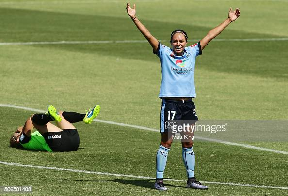 Kyah Simon of Sydney FC celebrates victory after the WLeague semi final match between Canberra United and Sydney FC at McKellar Park on January 24...