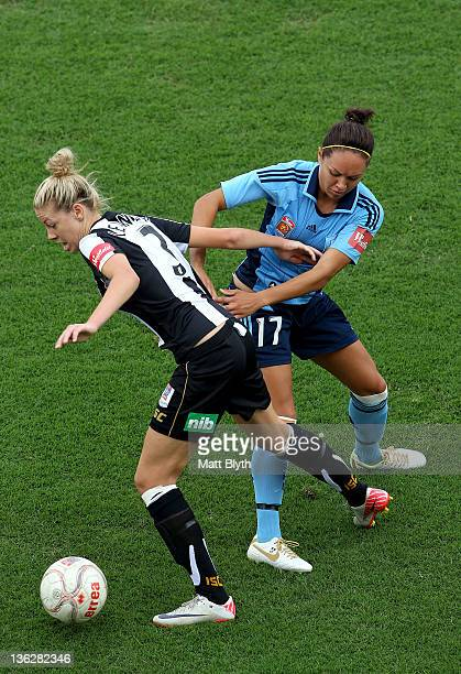 Kyah Simon of Sydney FC competes with Alanna Kennedy of the Jets during the round 10 WLeague match between Sydney FC and the Newcastle Jets at...
