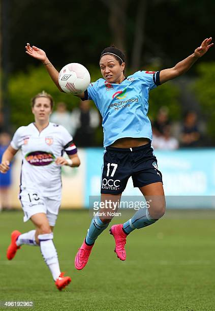 Kyah Simon of Sydney in action during the round four WLeague match between Sydney FC and Perth Glory at Lambert Park on November 8 2015 in Sydney...