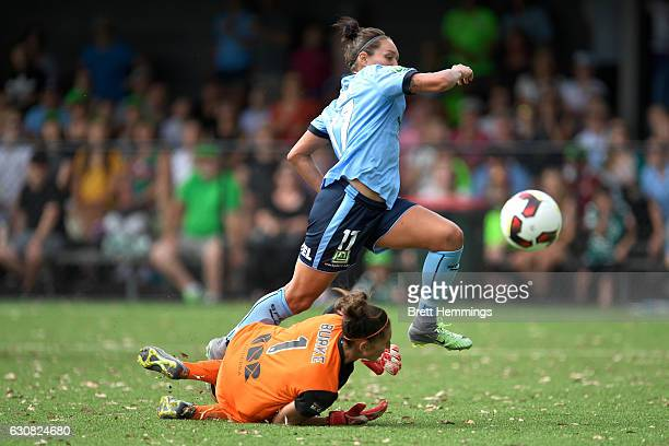 Kyah Simon of Sydney scores a goal during the round 10 WLeague match between Sydney and Canberra at Lambert Park on January 3 2017 in Sydney Australia