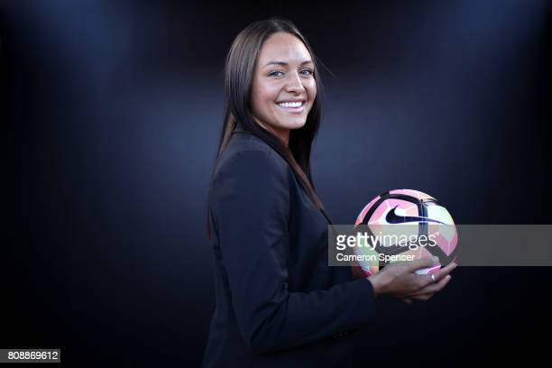 Kyah Simon of the Matildas poses for a portrait following an FFA media announcement regarding a two match International Friendly against Brazil on...