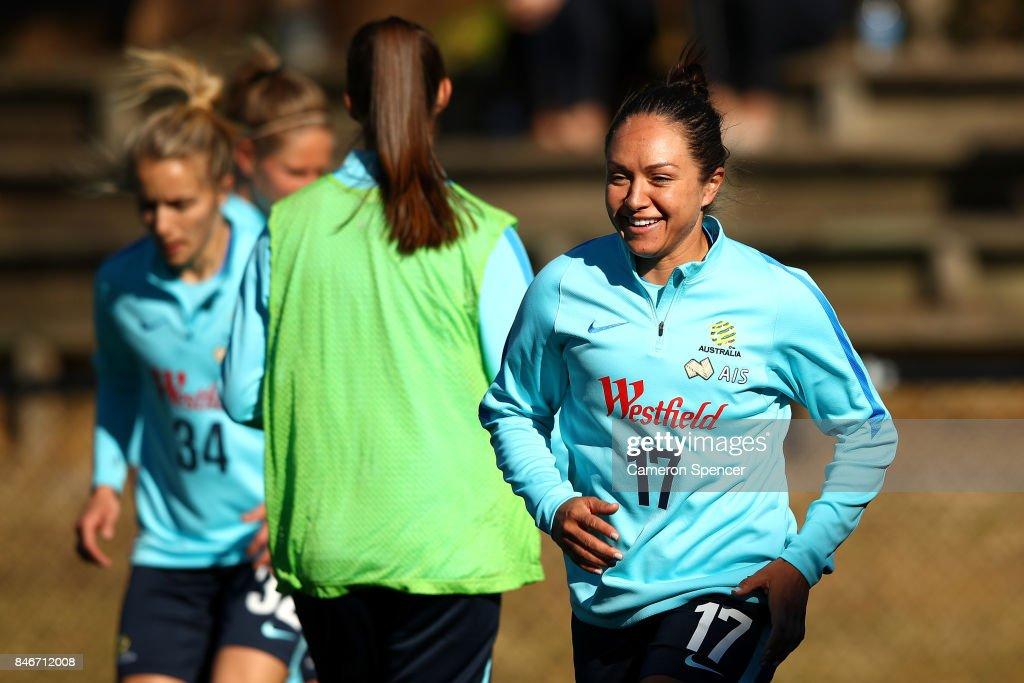 Kyah Simon of the Matildas runs during a Matildas training session on September 14, 2017 in Sydney, Australia.