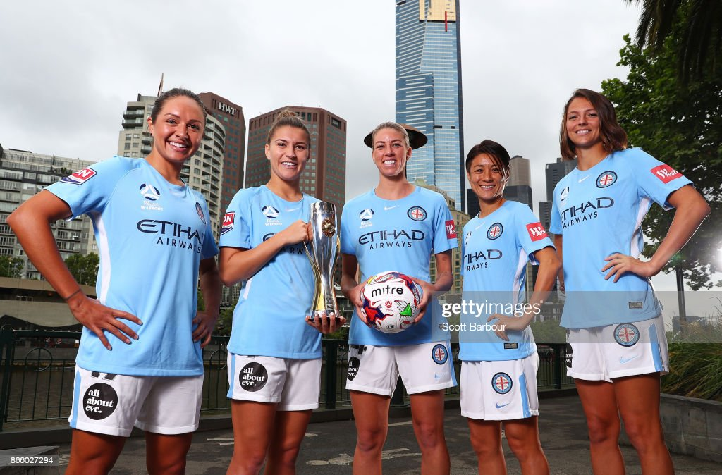 Kyah Simon, Steph Catley, Alanna Kennedy, Yukari Kinga and Ashley Hatch of Melbourne City Womens team pose with the W-League trophy during a Melbourne City W-League media opportunity at SBS Studios on October 25, 2017 in Melbourne, Australia.