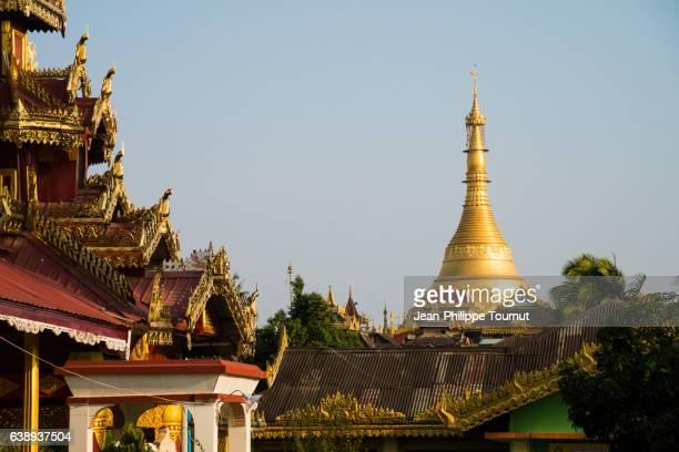 Kyaik Than Lan Pagoda and the golden roofs of Mawlamyine, Mon State, Southern Myanmar (Burma)
