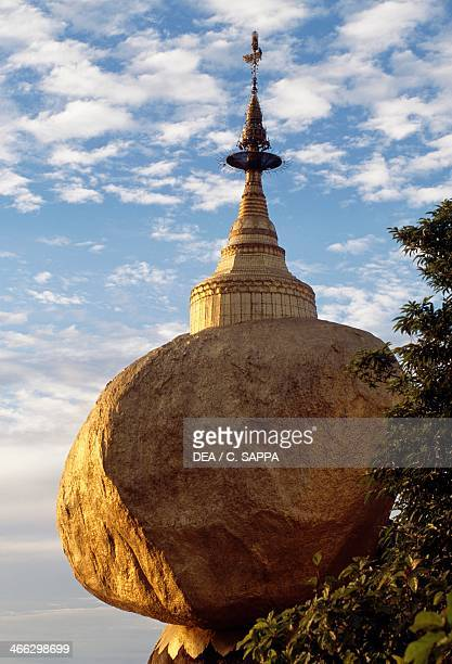 Kyaikhtiyo Pagoda also known as Golden Rock Mon State Myanmar 7th century