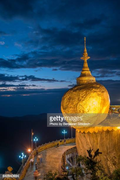 Kyaiktiyo Pagoda (Golden Rock) at dusk, Mon State, Myanmar