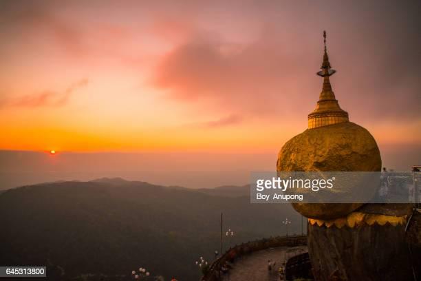 Kyaiktiyo Pagoda during the beautiful sunset of Mon state in Myanmar.
