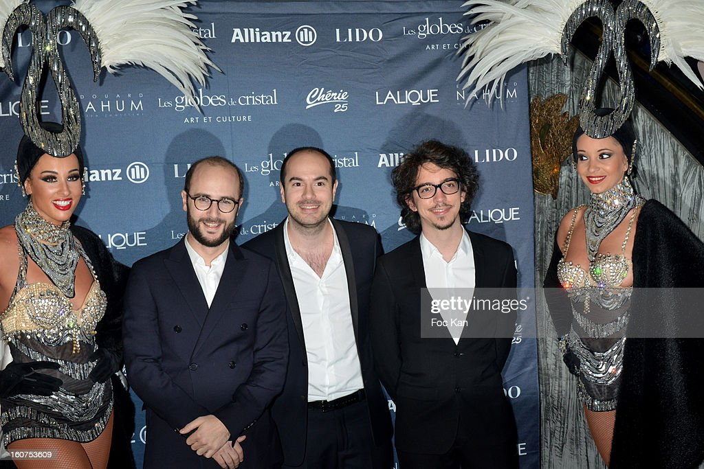 Kyan Khojandi (C) and guests attend the 'Globes de Cristal 2013' Press Room at the Lido on February 4, 2013 in Paris, France.