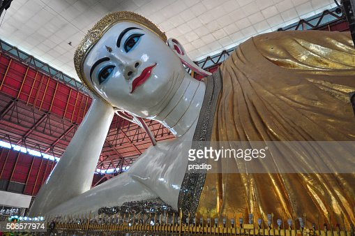 Kyauk Htat Gyi Reclining Buddha, Yangon,Myanmar. : Stock Photo