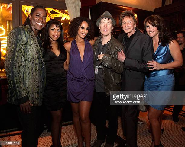 Kye Brackett Muffy Hendrix Melanie Nyema Choreographer and film director Jeffrey Hornaday singersongwriter Barry Manilow and Keely Vasquez and pose...