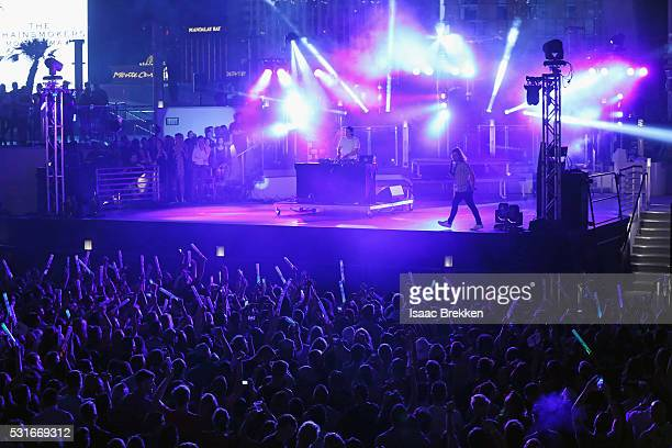 Kygo and singer Conrad Sewell performs onstage during CBS RADIO's SPF at The Boulevard Pool at The Cosmopolitan of Las Vegas on May 15 2016 in Las...