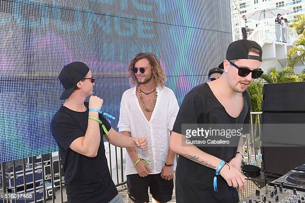 Kygo Thomas Jack and Robin Schulz attend SiriusXM Celebrates 10th Anniversary Of The SiriusXM Music Lounge At 1 Hotel South Beach Leading Up To Ultra...