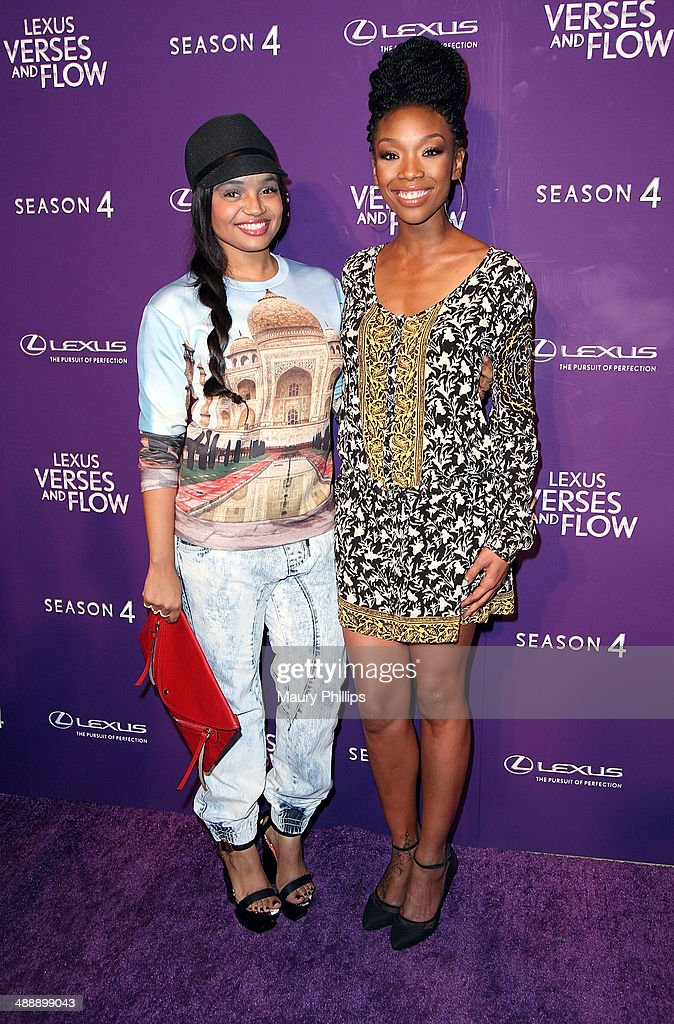 Kyla Pratt and Brandy Norwood arrive at 'Verses And Flow' Season 4 taping presented by TV One at Siren Studios on May 8, 2014 in Hollywood, California.