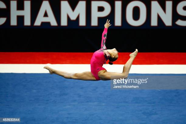 Kyla Ross competes in the floor exercise of the senior women preliminaries during the 2014 PG Gymnastics Championships at Consol Energy Center on...