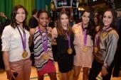 Kyla Ross Gabby Douglas McKayla Maroney Aly Raisman and Jordyn Wieber of the 2012 US Women's Gymnastics Olympic Gold Medal Team ring the closing bell...