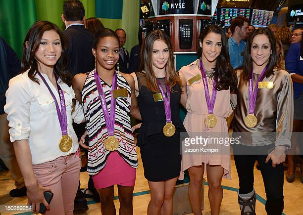 Kyla Ross Gabby Douglas McKayla Maroney Aly Raisman and Jordyn Wieber of the 2012 US Women's Gymnastics Olympic Gold Medal Team ring the closing bell...