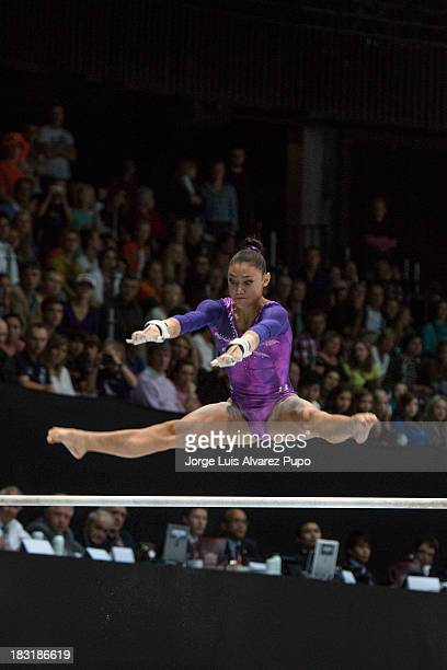 Kyla Ross of USA competes in the Uneven Bars Final on Day Six of the Artistic Gymnastics World Championships Belgium 2013 held at the Antwerp Sports...