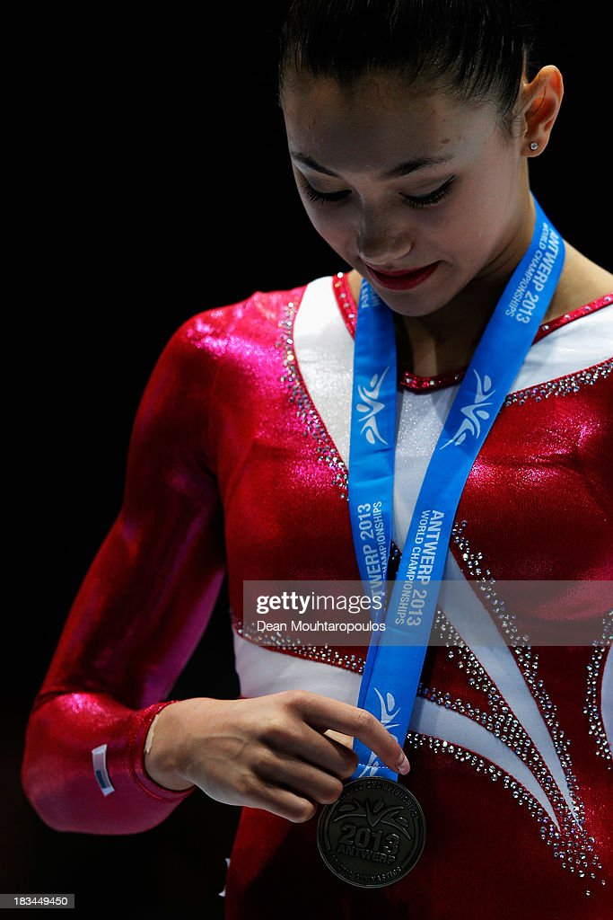 <a gi-track='captionPersonalityLinkClicked' href=/galleries/search?phrase=Kyla+Ross&family=editorial&specificpeople=6920700 ng-click='$event.stopPropagation()'>Kyla Ross</a> of USA poses after winning the Silver medal in the Women's balance beam final on Day Seven of the Artistic Gymnastics World Championships Belgium 2013 held at the Antwerp Sports Palace on October 6, 2013 in Antwerpen, Belgium.