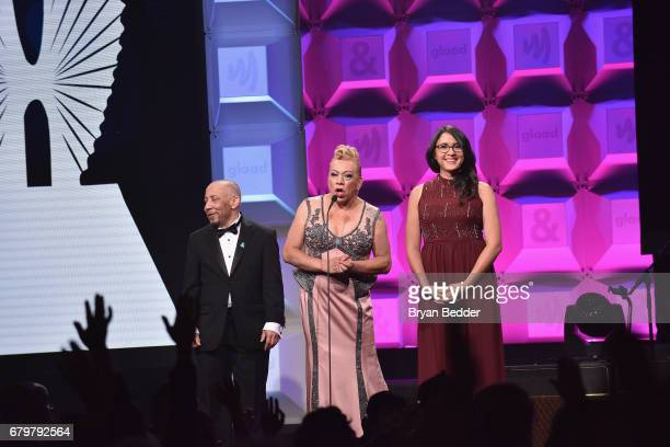 Kylar W Broadus Bamby Salcedo and Sydney Freeland speak on stage at the 28th Annual GLAAD Media Awards at The Hilton Midtown on May 6 2017 in New...
