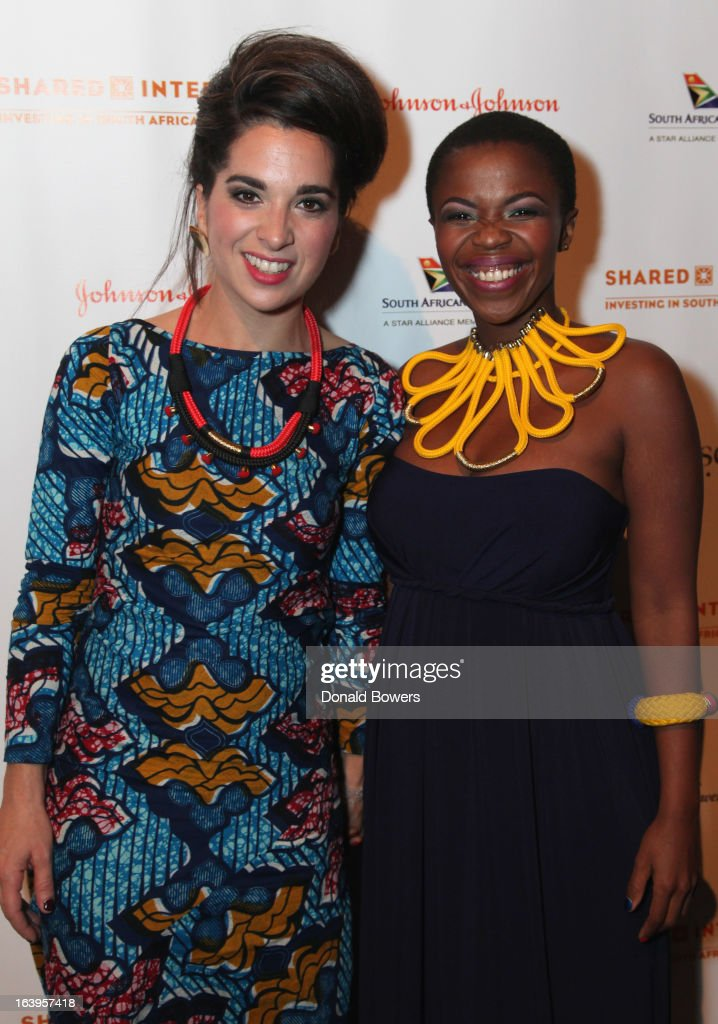 Kyla-Rose Smith (L) and Zolani Mahola of Freshlyground attend the Shared Interest 19th Annual Awards Gala on March 18, 2013 in New York City.