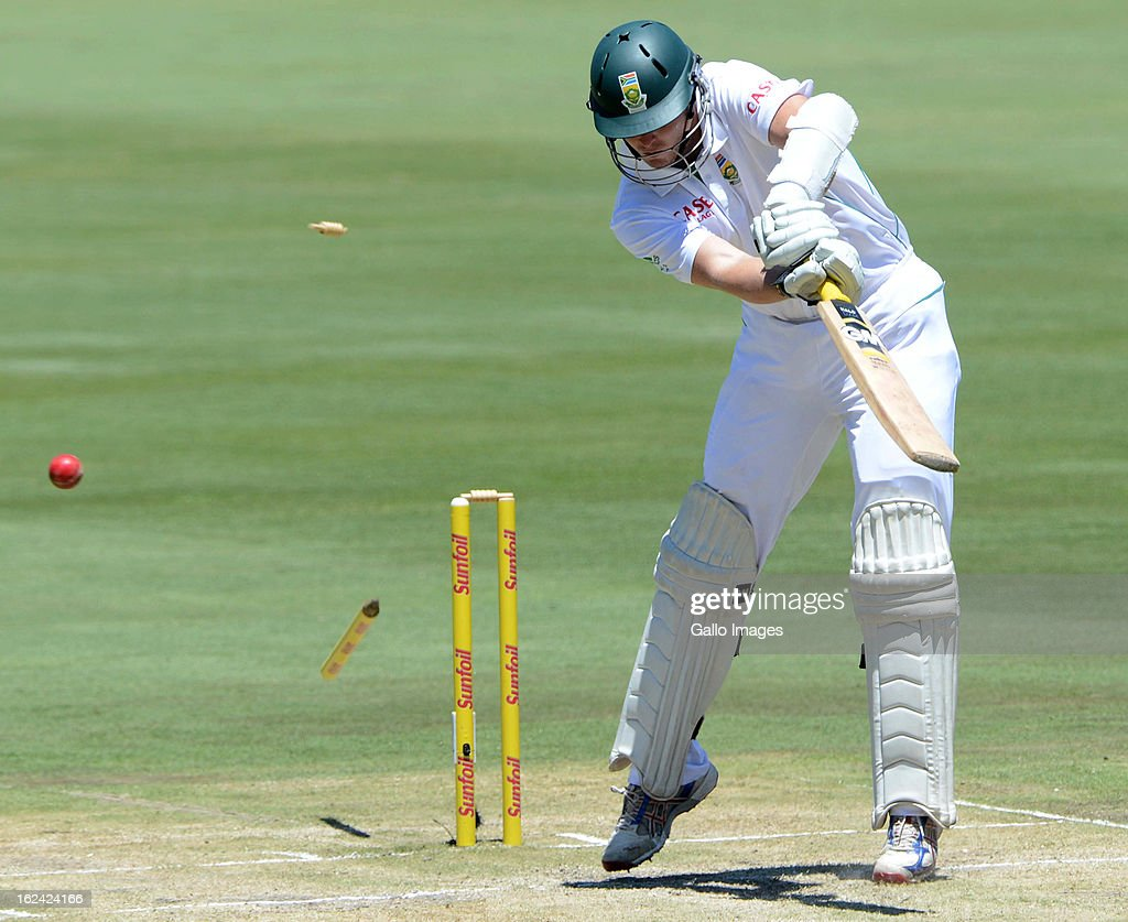 Kyle Abbott of South Africa bowled by Rahat Ali of Pakistan during day 2 of the 3rd Test match between South Africa and Pakistan at SuperSport Park on February 23, 2013 in Pretoria, South Africa,