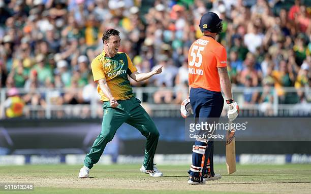 Kyle Abbott of South Africa celebrates dismissing England captain Eoin Morgan during the 2nd KFC T20 International match between South Africa and...