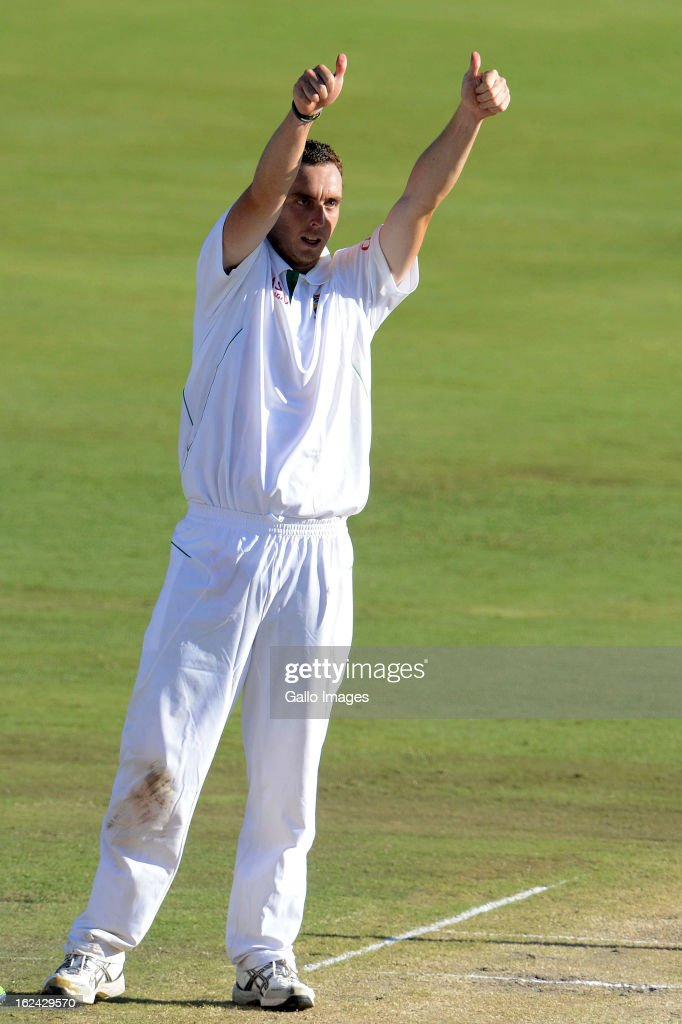 Kyle Abbott of South Africa celebrates his 5th wicket during day 2 of the 3rd Test match between South Africa and Pakistan at SuperSport Park on February 23, 2013 in Pretoria, South Africa,