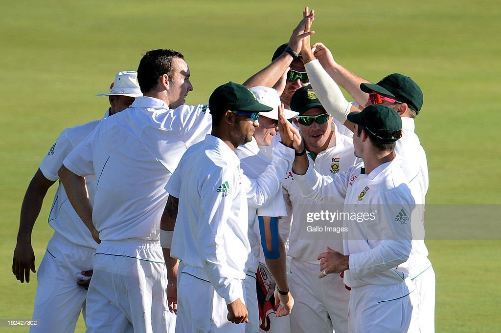 Kyle Abbott of South Africa celebrates the wicket of Mohammad Irfan of Pakistan during day 2 of the 3rd Test match between South Africa and Pakistan at SuperSport Park on February 23, 2013 in Pretoria, South Africa,
