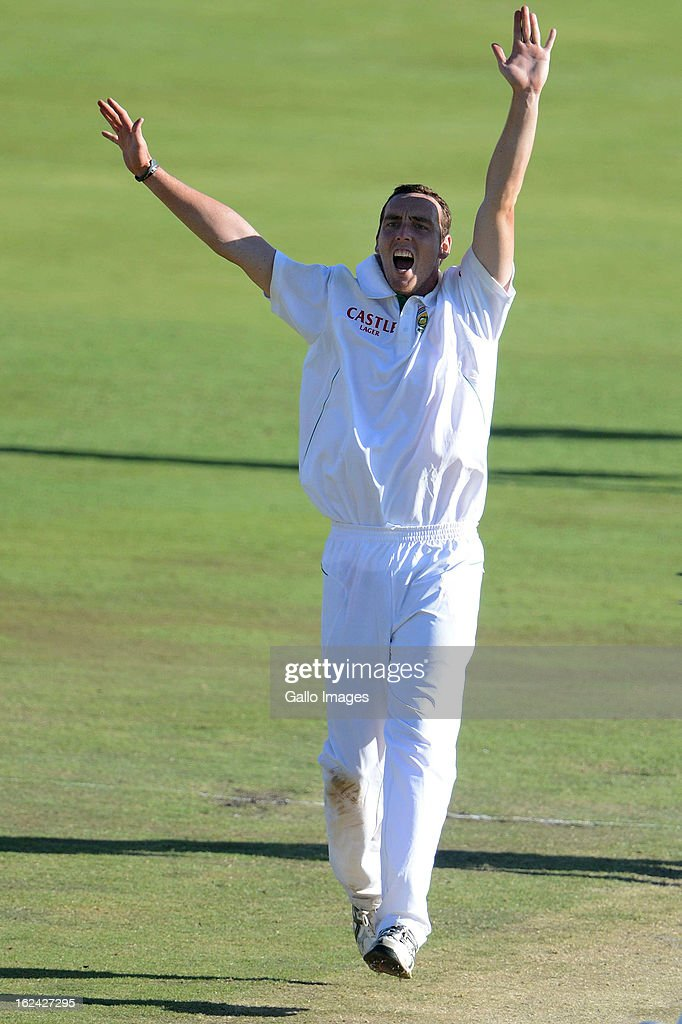 Kyle Abbott of South Africa celebrates the wicket of Younis Khan of Pakistan during day 2 of the 3rd Test match between South Africa and Pakistan at SuperSport Park on February 23, 2013 in Pretoria, South Africa,