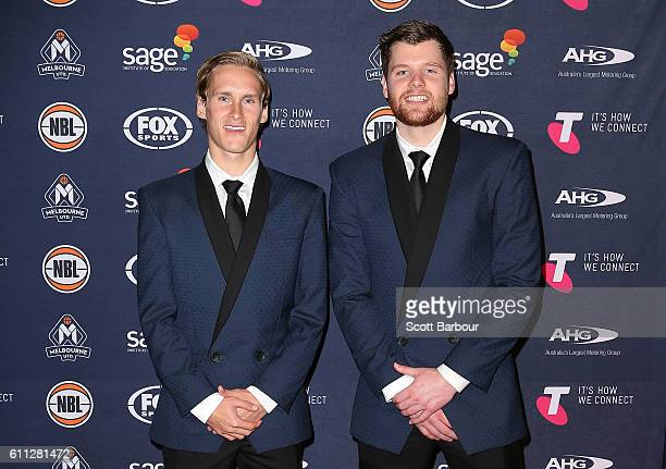 Kyle Adnam and Iggy Hadziomeric arrive at the Melbourne United 2016/17 NBL season launch at Laurens Hall on September 29 2016 in Melbourne Australia
