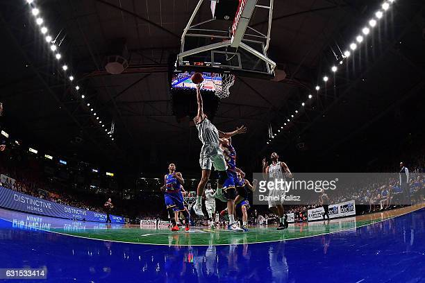 Kyle Adnam of Melbourne drives to the basket during the round 15 NBL match between the Adelaide 36ers and Melbourne United at Titanium Security Arena...