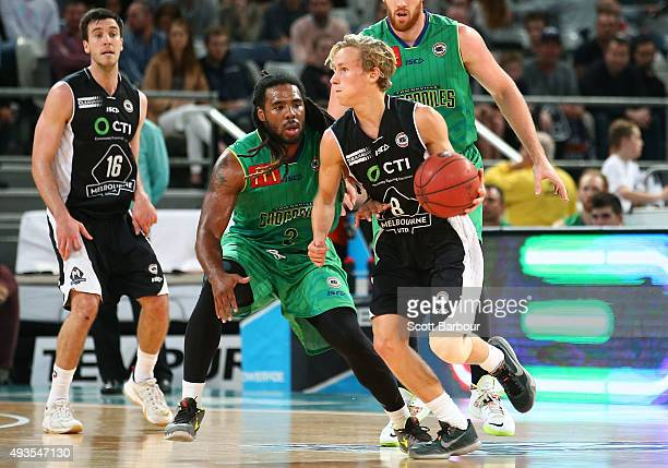 Kyle Adnam of Melbourne United contols the ball during the round three NBL match between Melbourne United and the Townsville Crocodiles at Hisense...