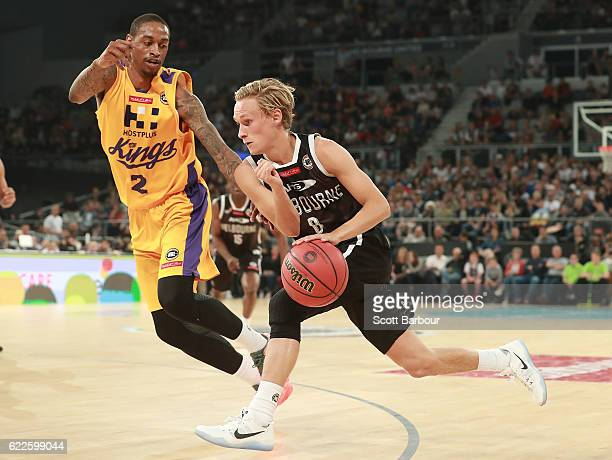 Kyle Adnam of Melbourne United controls the ball during the round six NBL match between Melbourne United and the Sydney Kings at Hisense Arena on...